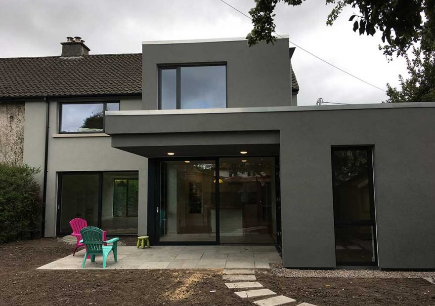 refurb and extension recently completed at cherry drive cork incorporating cantilevered canopy to garden